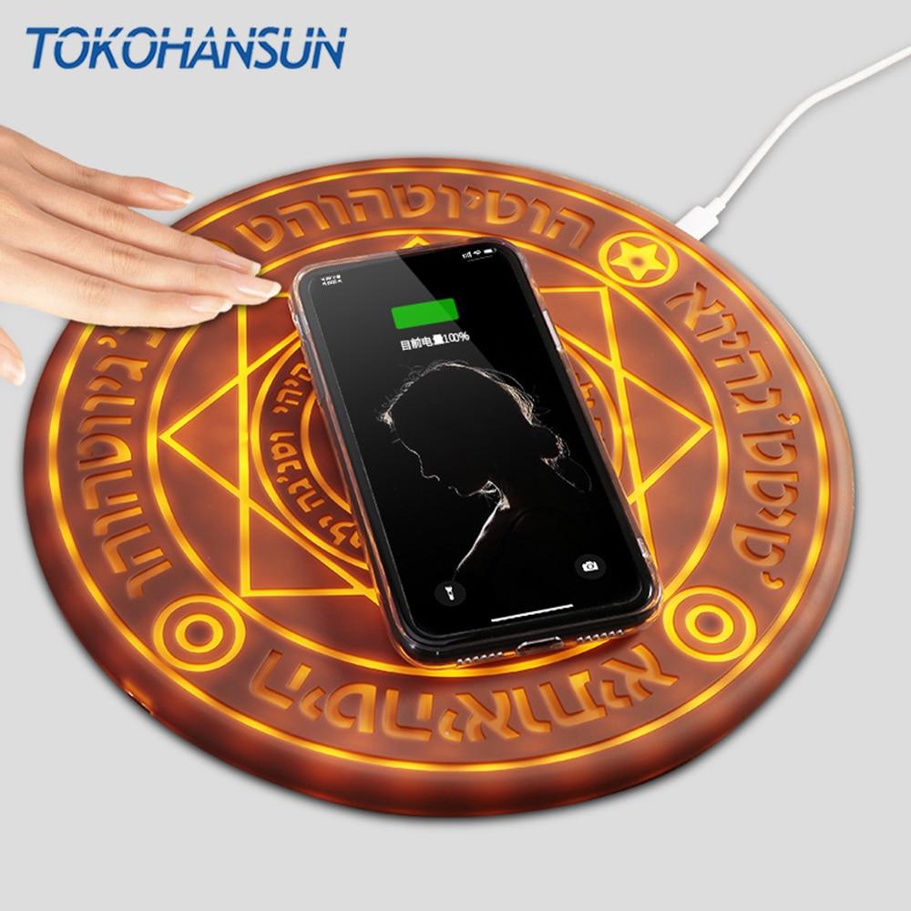 TOKOHANSUN chargeur sans fil magique 10 W cercle magique universel Qi chargeur sans fil charge rapide pour iPhone Samsung Huawei