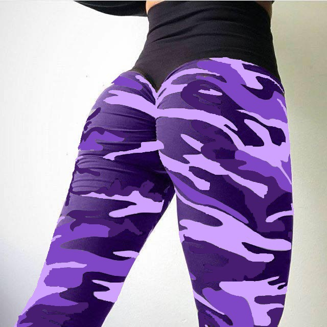 Casual Purple Camouflage Fitness   Leggings   Sexy Skinny High Waist Long Pants Work Out Sportswear Leggins Mujer Plus Size XXL