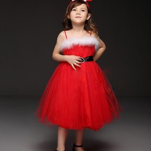 2015 New Flowers Dress For Girls For Wedding and Party Lace Princess Party Kids Tutu Bow Red Dresses Christmas Girl Dress