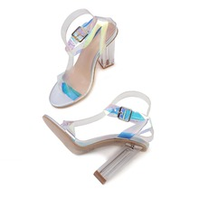 Dropshipping Big Size 35-42 Heeled Sandals Clear Transparent PVC Square High Heels Woman Shoes Ladies Pumps Sapato
