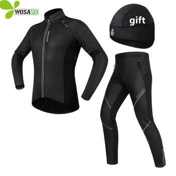 Conjuntos de Ciclismo de Inverno Homens Reflexivo WOSAWE Gel Acolchoado Bicicleta Velo Térmico Casaco Corta-vento Ternos Jaquetas Esportivas Roupas Uniforme
