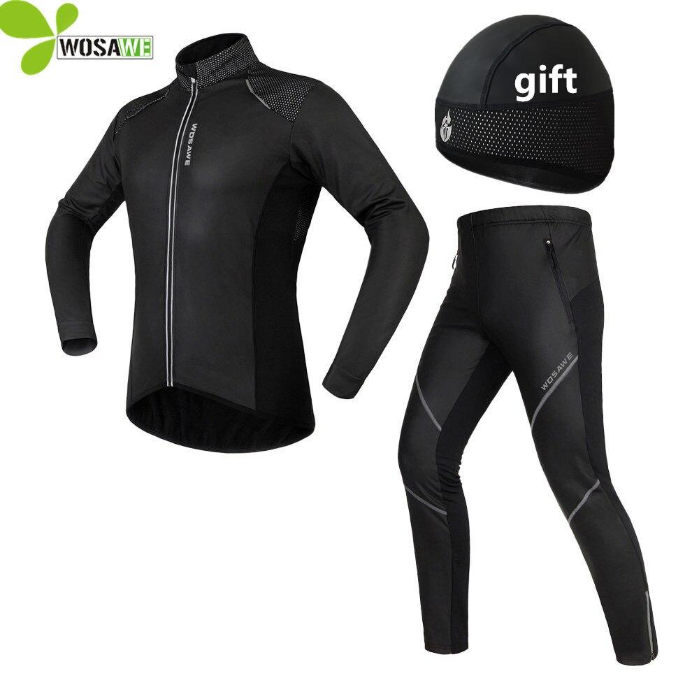 WOSAWE зимние велонаборы для мужчин светоотражающий гель мягкий термальность флис велосипед пальто ветровка костюмы спортивные куртк