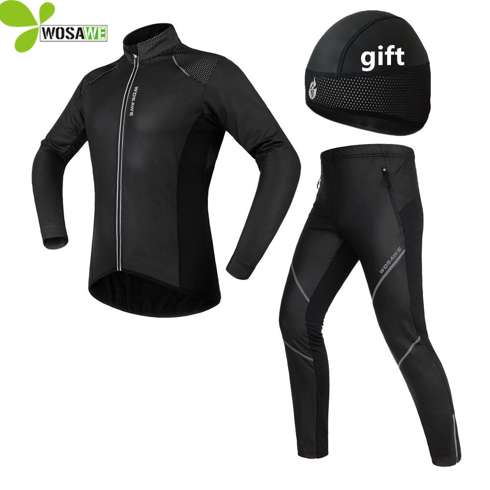 WOSAWE Winter Cycling Sets Men Reflective Gel Padded Thermal Fleece Bike Coat Windbreaker Suits Sports Jackets Uniform Clothing