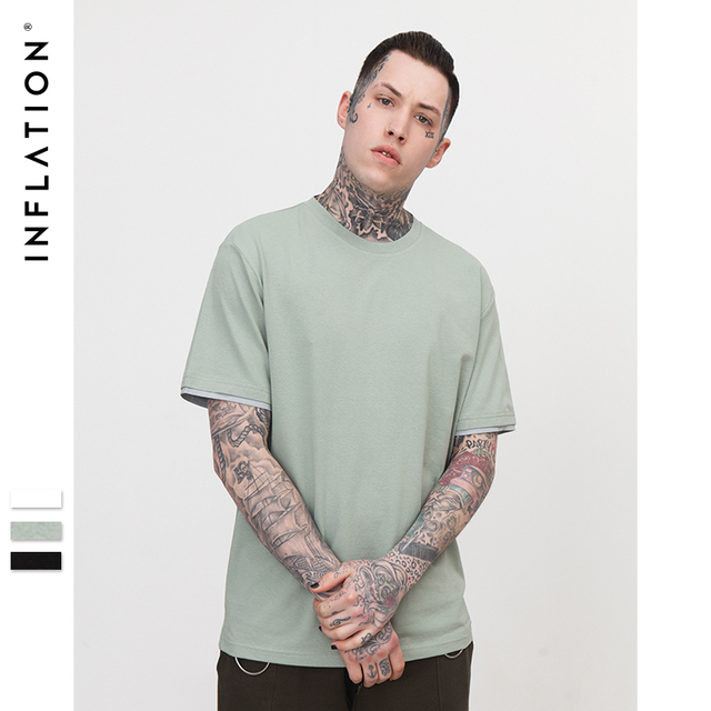 INFLATION ''Daily'' Mens Fake Double Layered T-Shirt Fashion Tops High Quality Slim Fit O-neck Dress Tees For Men 8052S