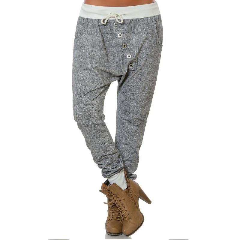 Casual Buttons Harem   Pants   For Women 2019 Autumn High Waist Loose Solid Trousers Plus Size   Capris   Baggy Pockets Buttoms 5XL