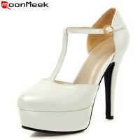 MoonMeek Taille 34-43 vente Chaude T sangle femmes pompes bout rond plate-forme chaussures noir blanc rose nude pompe haute talons chaussures de mariage