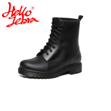 Hellozebra Новая мода Для женщин обувь непромокаемые сапоги полуботинки со шнуровкой черного цвета обувь для дождя Водонепроницаемый резиновые сапоги Matt Обувь rainday водонепроницаемая обувь