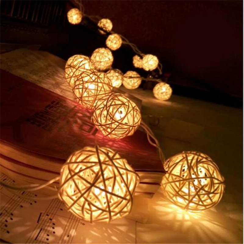 Nyaste 20 LED 4CM Rattan Ball LED String Lighting Holiday Jul Bröllopsfest Gardin Dekoration Varm Vit Ljus 2016