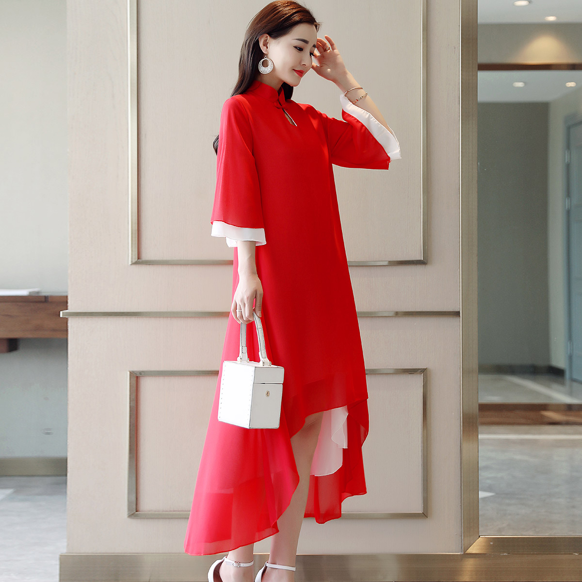 2019 Asian Dress Ao Dai Vietnam Clothing Vintage Clothing Ao Dai Vietnam For Woman Improved Aodai Party Dress