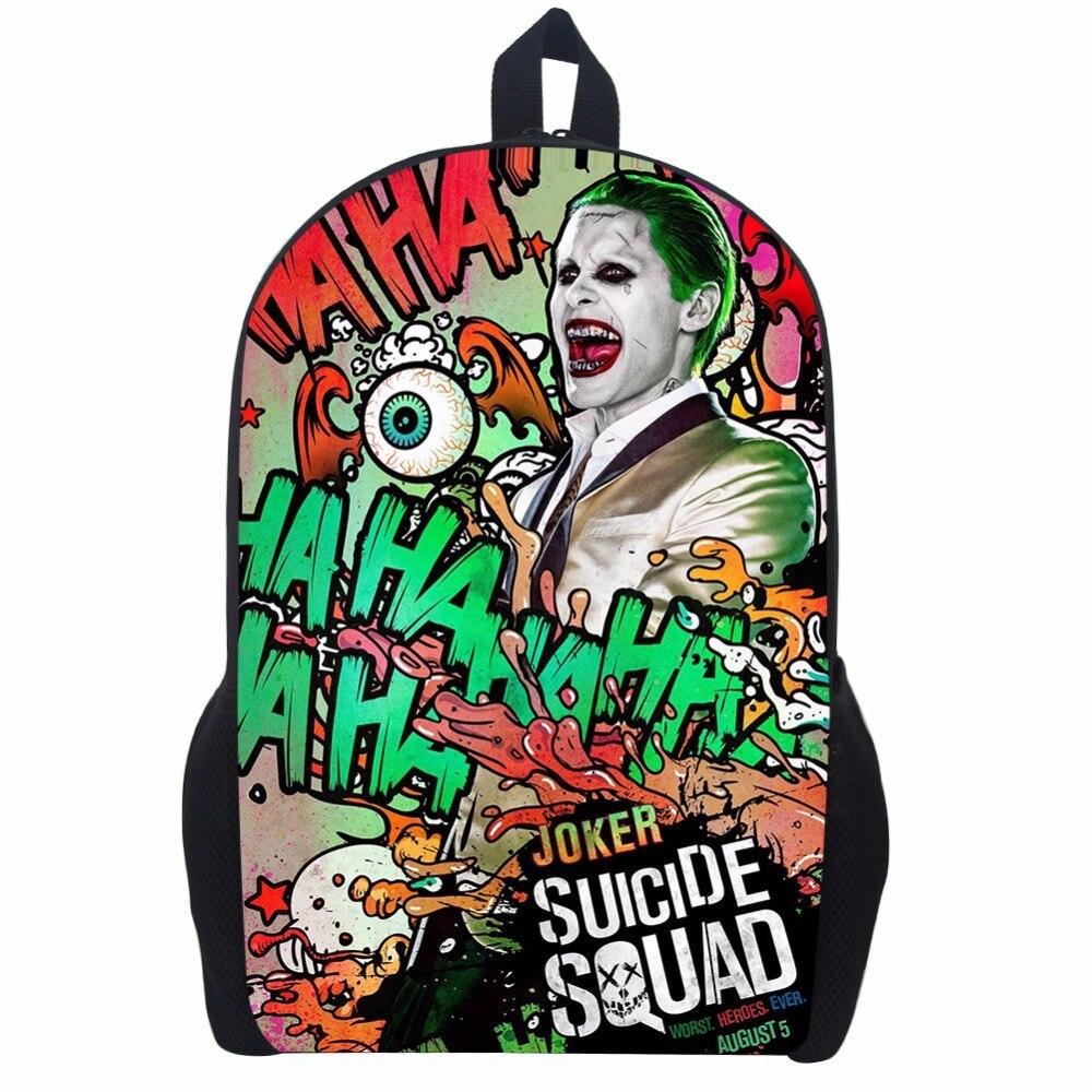 17 Inch Suicide Squad Backpack For Teenager Children Harley Quinn Joker School Bags Mens Women Shoulder Bag #5