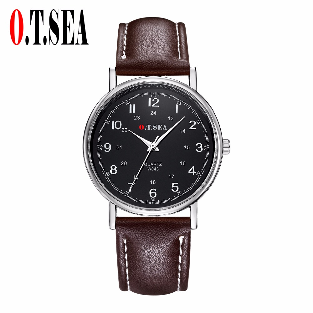 New O.T.SEA Brand Faux Leather Watches Men Sports Analog Quartz Wrist Watches Relogio Masculino W043 guanqin design leather band watches men top brand relogio masculino new men sports clock analog waterproof quartz wrist watches