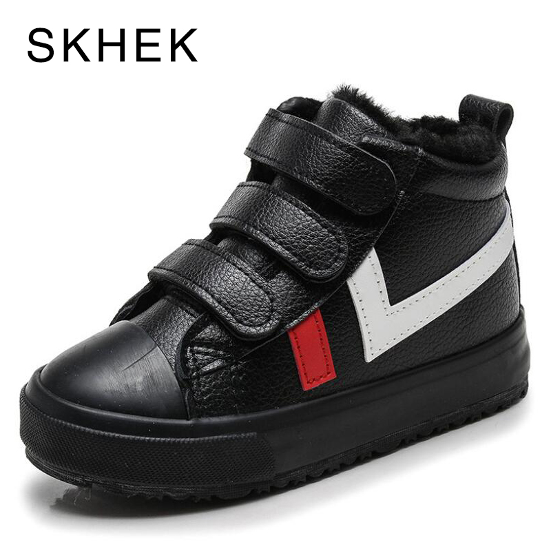 SKHEK Winter Girls Boys Snow Boots Waterproof Ankle Kids Boots Flat Warm Plush Lining Children's Shoes Winter Boots For Girls
