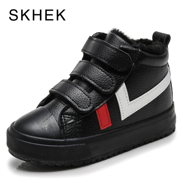 SKHEK Winter Girls Boys Snow Boots Waterproof Ankle Kids Boots Flat Warm Plush Lining Childrens Shoes Winter Boots For Girls