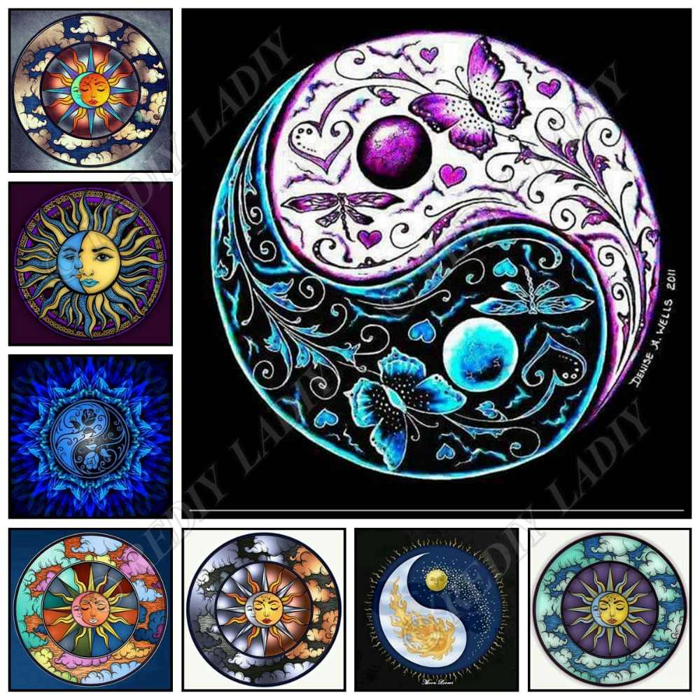 Full Square / Round Diamond Painting Sun Mandala Diamond Embroidery Crystal Mosaic Pattern Beaded Cross Stitch Crafts Home Decor