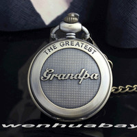 Bronze the greatst grandpa retro pocket watch big size necklace fob chain roman numberal vintage men.jpg 200x200