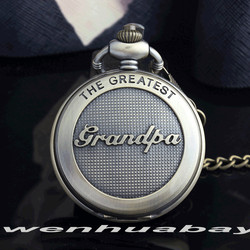 Bronze the greatst grandpa retro pocket watch big size necklace fob chain roman numberal vintage men.jpg 250x250