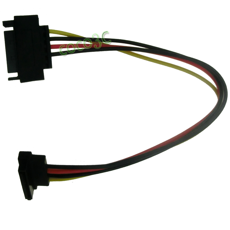 Right angle 15pin Serial ATA Female Port to 15 pin Male port Extension cable SATA Power Supply cable