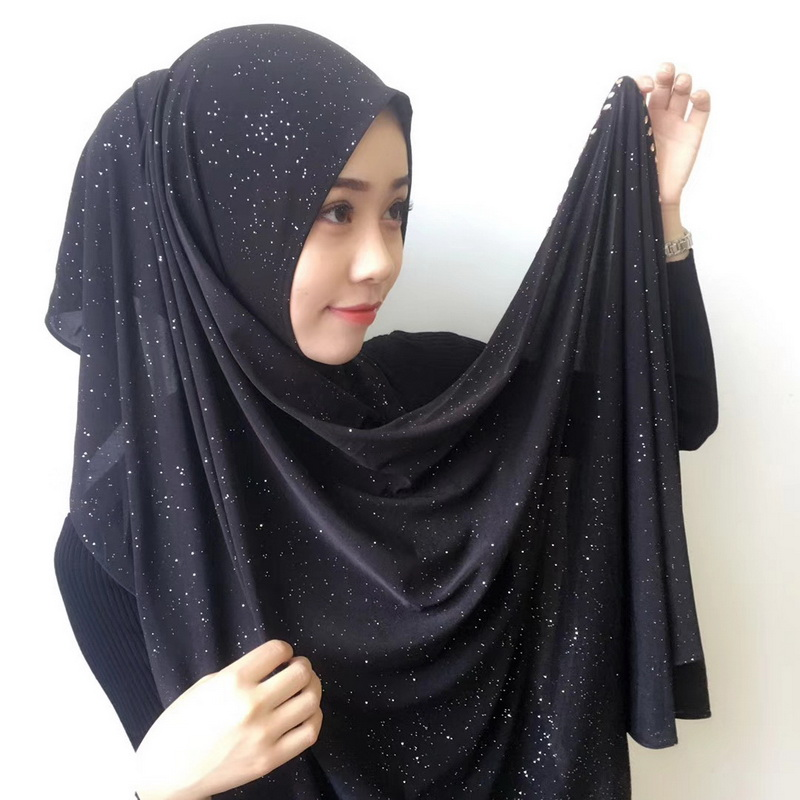 Muslim Scarves Woman Scarf Solid Color Rhinestone Shining Sequins Chiffon Silk Popular Shawls Scarf Headband Free Shipping