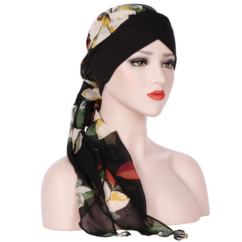 1pc Fashion Women Flowers Printed Head Scarf Chemo Hat Muslim Turban Pre-tied Flowers Printed Pre-tied Headwear Soft With The Most Up-To-Date Equipment And Techniques