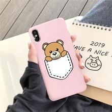 GYKZ Luxury Brand Bear Moschin Phone Case For iPhone 6 6s XS MAX X XR 7 8 Plus Cute Cartoon Back Cover Pink Fundas