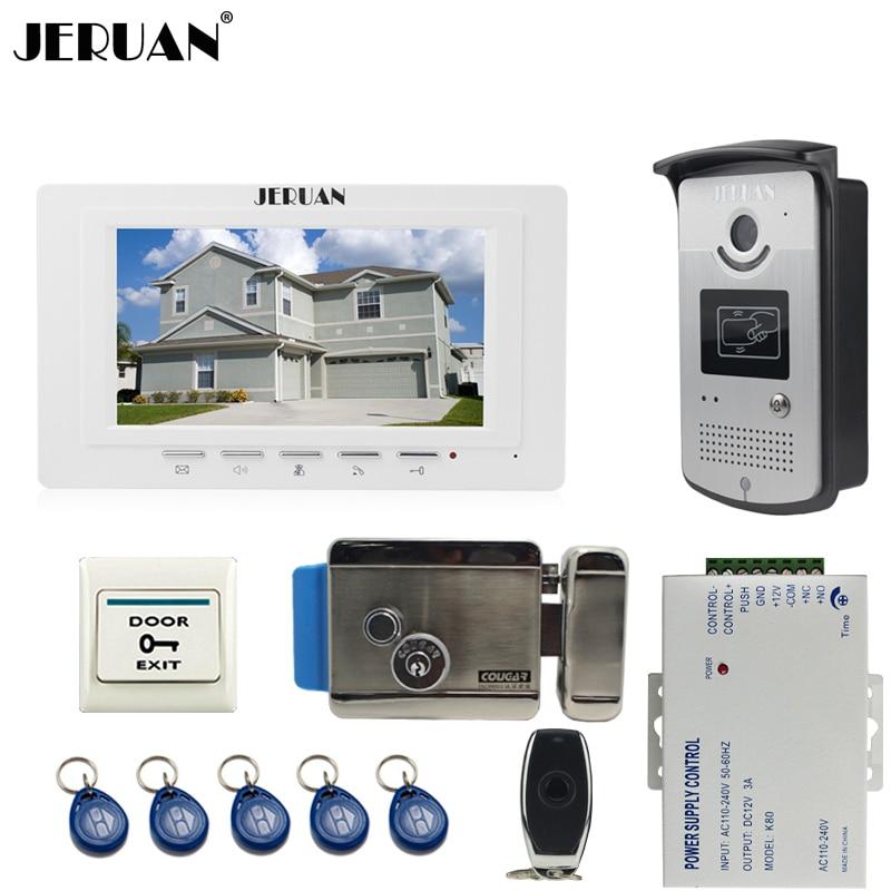JERUAN Home 7`` color LCD Video DoorPhone Intercom System kit 1 Monitor +700TVL RFID Access waterpoof Camera +Electronic lock