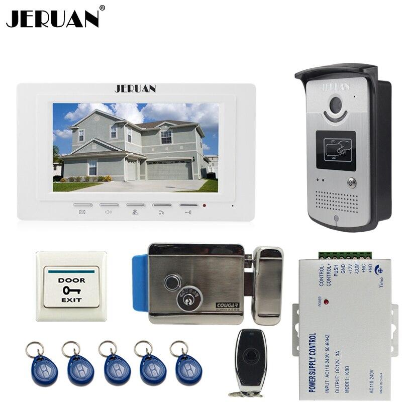 JERUAN Maison 7 ''couleur LCD Vidéo Interphone Interphone Système kit 1 Moniteur + 700TVL D'accès RFID waterpoof Caméra + serrure électronique
