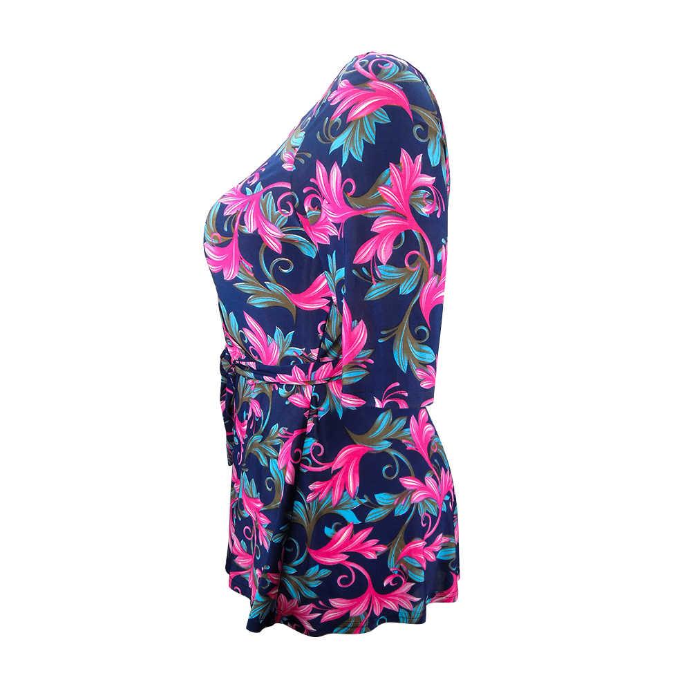 YTL женская летняя Элегантная блузка размера плюс с цветочным принтом, короткий рукав, пояс, тонкая Женская туника, топы M-8XL, H112