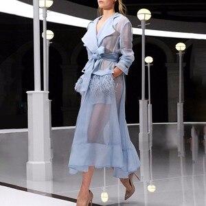 Image 3 - Twotwinstyleボイルレースアップウインドブレーカードレス女性長袖羽ポケットセクシーなパーティードレス女性のエレガントな服2020