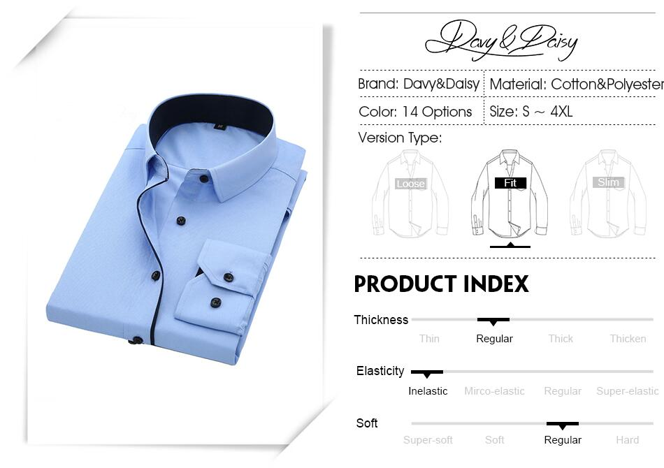 DAVYDAISY High Quality Men Shirt Long Sleeve Twill Solid Formal Business Shirt Brand Man Dress Shirts DS085 2