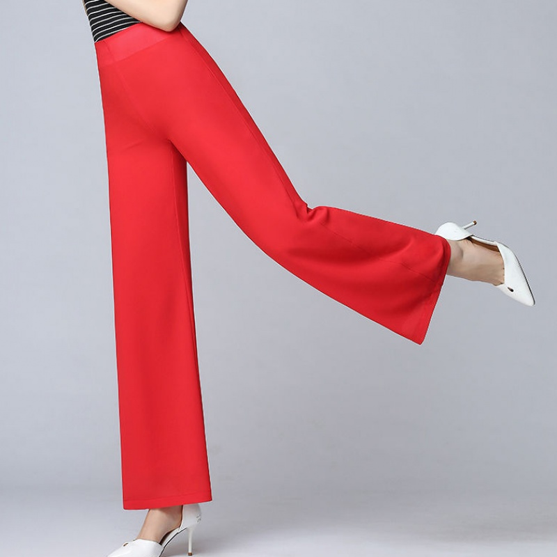 Women's Summer Wide Leg Long Trousers Casual Vintage High Waist Chiffon Side Split Loose Bohemia Skirt   Pants     Capris   Solid