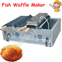 2 Plates Taiyaki Maker Electric Fish Shape Waffle Maker Commercial Grain Snapper Burn Grilled Fish Cone Machine FY 1104A