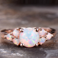 Natural 100% Oval Shape 8mm Austrialian Fire Opal Gemstone Ring in 14k Rose Gold with Gift Box For Women