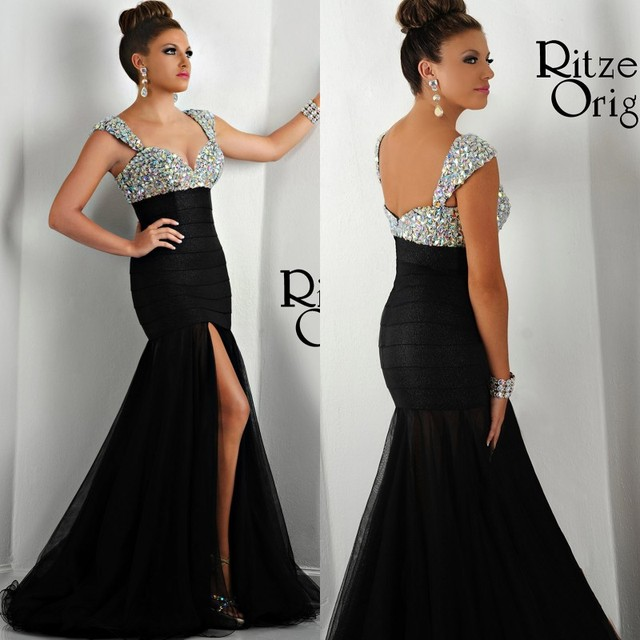 f106ba3e93 ... cristales concurso baile graduación Madre la novia vestidos. 2018 Black  Mermaid Long Formal Evening Gown Sexy High Split Front Crystals Pageant Prom  ...