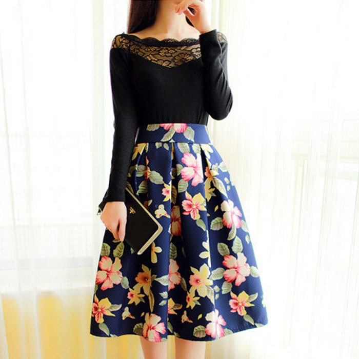 A Line Floral Skirt - Dress Ala