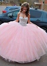 Дебютантка anos quinceanera бал сладкий vestidos халат розовый де кристалл красный