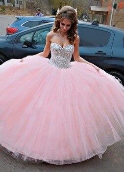 Pink Sweet 16 dresses vestido 15 anos de debutante gowns vestidos de  quinceanera dresses red crystal cb1bf16ce3d1