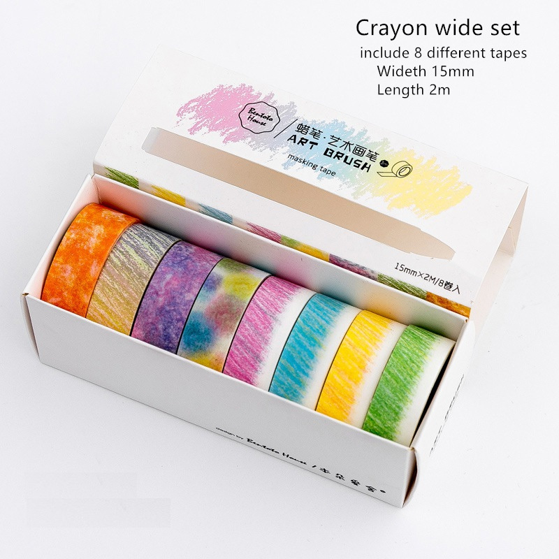 Купить с кэшбэком 8pcs Art brush masking tape set Color crayon pencil drawing washi tapes stickers decoration scrapbooking DIY Stationery A6155
