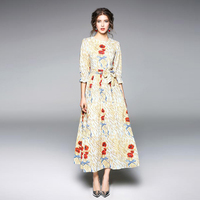 High Quality Newest Fashion Runway O Neck Maxi Dress Women S Three Quarter Sleeve Retro Art