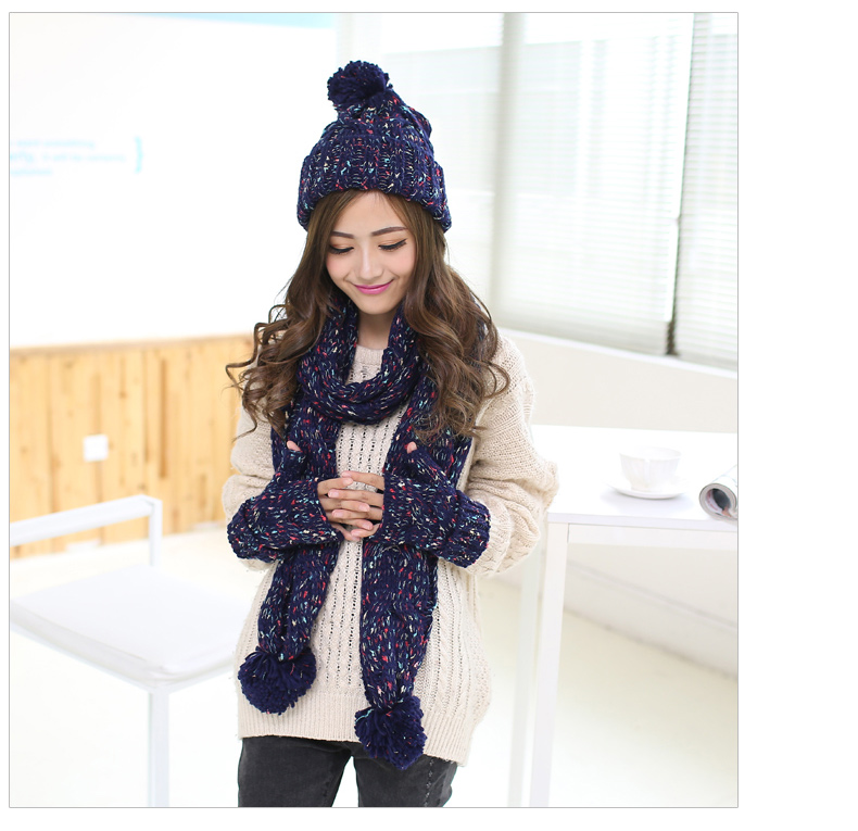 women winter hat scarf and glove set female warm knitted three pieces in  one Christmas Gift -in Scarf 75caef20509