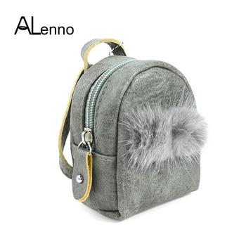 00d10224ab3d Двойной помпоном лисий мех пушистые брелки для женщин милый кошелек сумка  брелок Рюкзаки Высокое качество кожа слесарь подарки