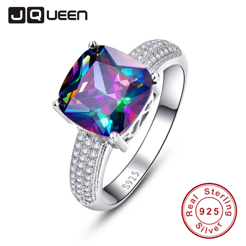 JQUEEN Gem Stone 7 3ct Genuine Rainbow Fire Mystic Topaz Ring Pure Solid 925 Sterling Silver