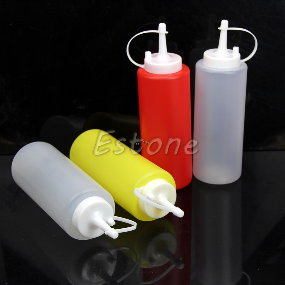 2pcs Kitchen Plastic Squeeze Dispenser Cruet Bottles For Sauces Oils Ketchup Mar