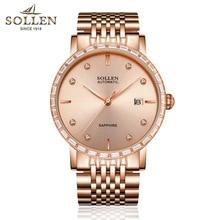 SOLLEN мужская автоматические механические часы ультра-тонкие часы с бриллиантами, весы, календарь дисплей, 40 мм диаметр розового золота SL9007