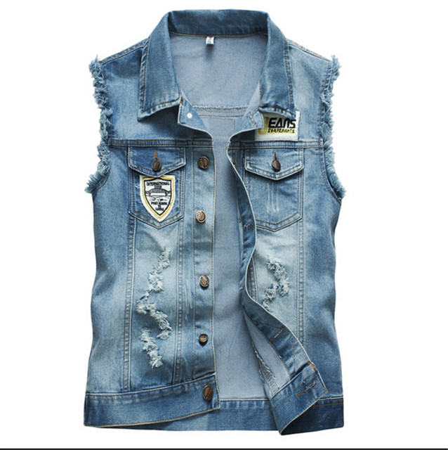 spring new trend men's denim vest high quality sleeveless jackets men  cotton jeans vest men