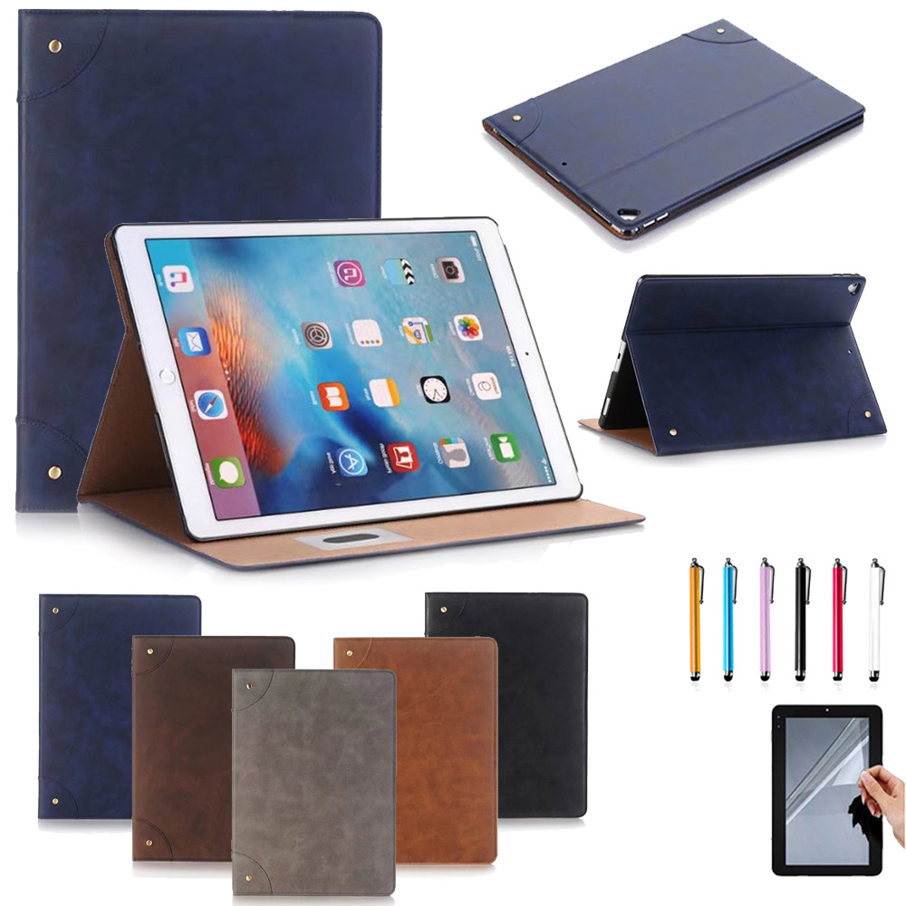 Retro Design Ultra thin Leather Case Cover For Apple iPad pro 12.9 inch 2017 Release Flip Stand magnetic case Skin Capa nice soft silicone back magnetic smart pu leather case for apple 2017 ipad air 1 cover new slim thin flip tpu protective case