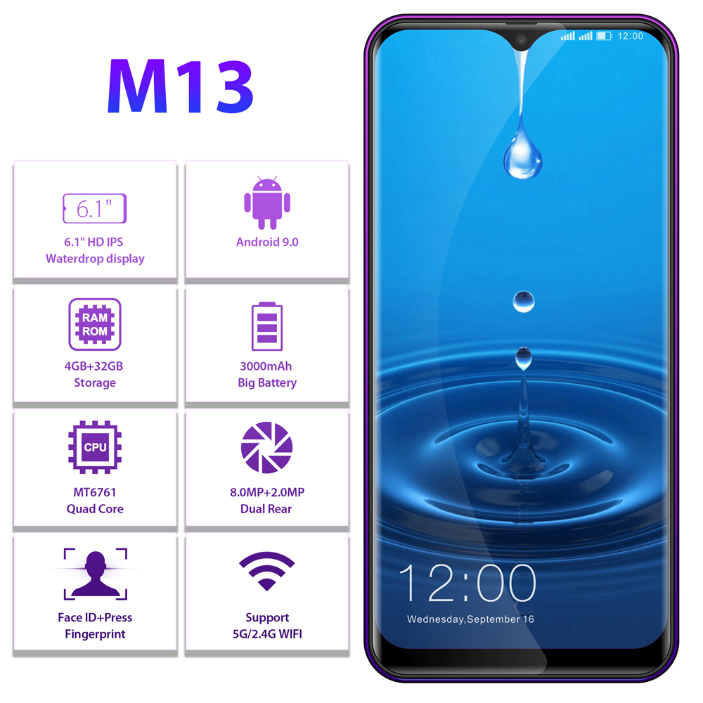 Image 2 - LEAGOO M13  Android 9.0 Smartphone 6.1 HD  IPS Waterdrop Display 4GB RAM 32GB ROM MT6761 3000mAh Dual Cams 4G Mobile Phone-in Cellphones from Cellphones & Telecommunications
