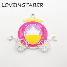 Carriage Pendant Enamel for Fashion Jewelry-Making Silvery Princess 46mm--33mm Newest-Design