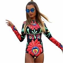 Новинка 2017 осенние женские боди цветочный принт пикантные Клубные Длинные рукава Bodycon Оболочка женщин сексуальное боди