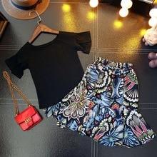 SexeMara Kids 2017 summer summer new speaker sleeves round neck t shirt with skirt two sets