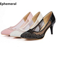 Female pointy toe rhinestone mesh fabric breathable women high heel shoes thin heels for wedding party white black pink size 43